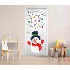 Вінілова наклейка на двері - сніговик та гірлянда