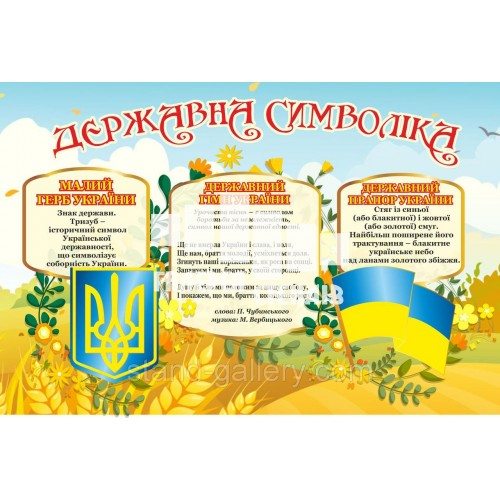 Баннер Державні Символи: герб, флаг, гімн початкової школи