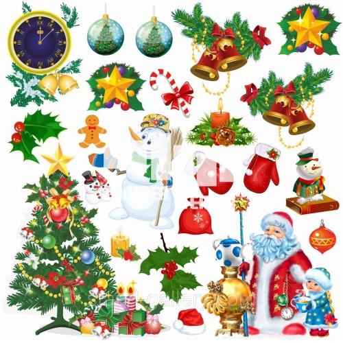 Красиві новорічні прикраси: наліпки
