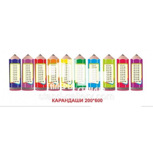 Стенд для школи НУШ 1 класса - таблиця множення на олівцях