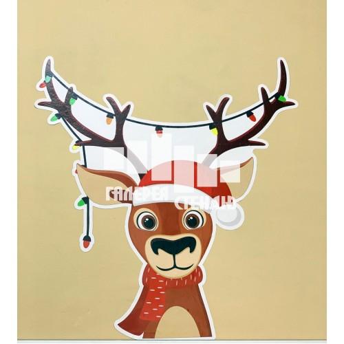 Новорічний декор наклейка новорічний олень