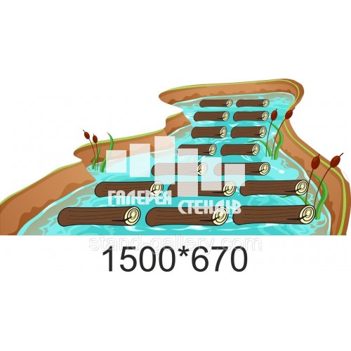 Наклейка на підлогу для школи: класики річка з колодами