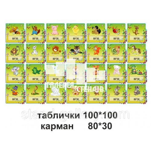 Таблички на шафи для дитячого садка в зеленому кольорі