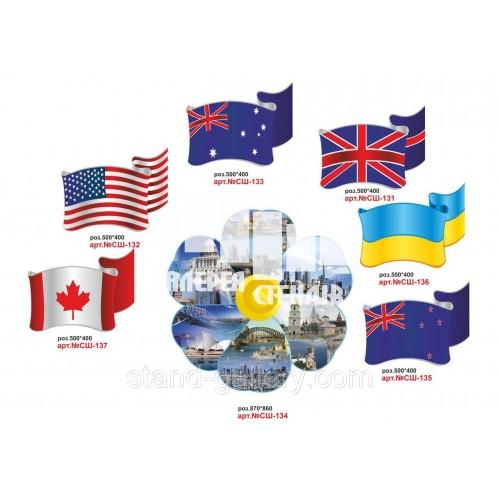 Декоративні стенди для кабінету англійської мови - прапори та видатні місця