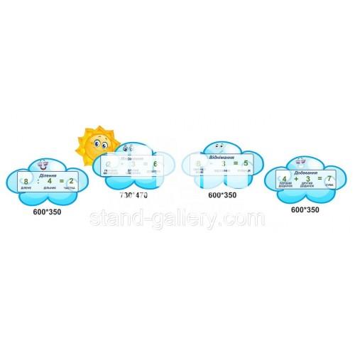 Стенд для школи НУШ 1 класса: склад числа на хмаринках