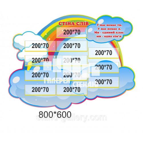 Стіна слів в клас нуш: Веселка з хмарками