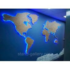 Світова вивіска для оформлення стін офісу - карта світу