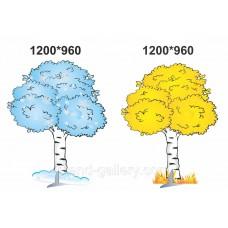 Декорація дерево Береза осіня та зимова