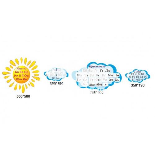 Стенди звуки та букви у вигляді сонечка та хмарок