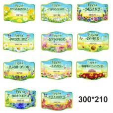 Таблички для дитячого садка назви груп з кишенею для прізвища керівника