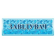 Таблички на двері в школі - блакитна з візерунком