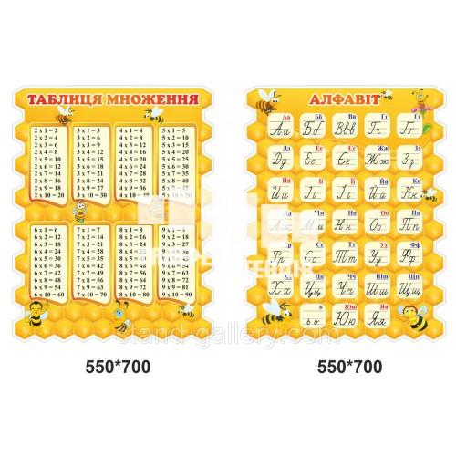 Стенди для школи Таблиця умножения та алфавіт в стилі бджілки