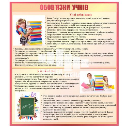 Стенд для школи обов'язки учнів