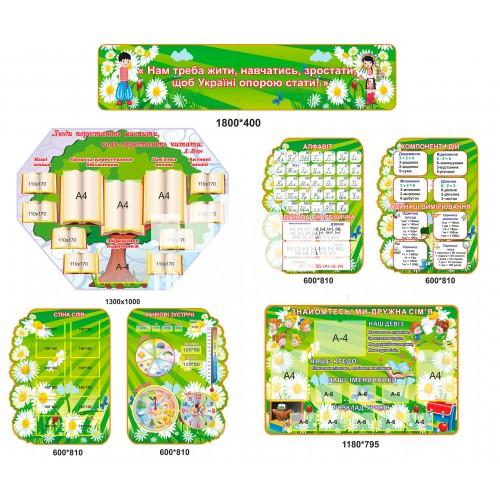 Стенди для школи як навчальні осередки ромашкове поле в зелених кольорах