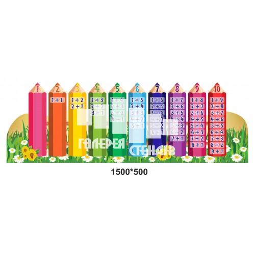 Стенд для школи НУШ 1 класу - склад числа олівці